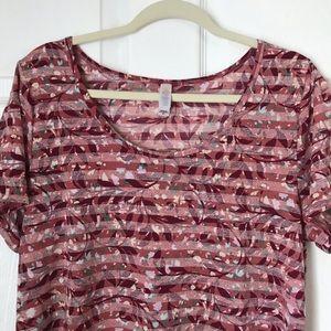 LuLaRoe Striped Pink W/Design Classic T